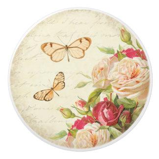 Roses floraux et bouton en céramique vintage de