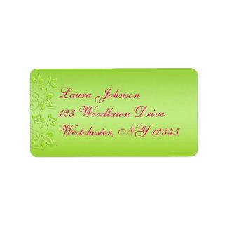 Roses indien, étiquette de adresse floral de vert étiquette d'adresse