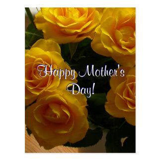 Roses jaunes heureux du jour de mère carte postale