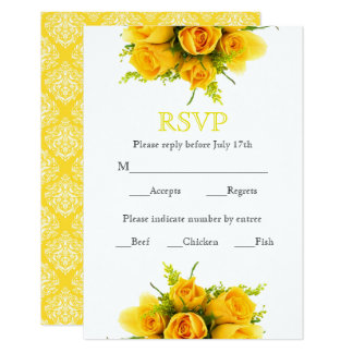 Roses jaunes sur le blanc - carte de RSVP