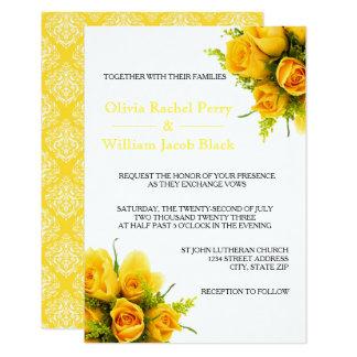 Roses jaunes sur le blanc - invitation 3X5Wedding