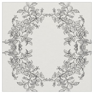 Roses ornementaux noirs et blancs sur le tissu