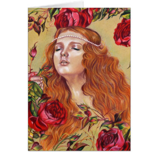 Roses parmi la carte florale d'art d'imaginaire de