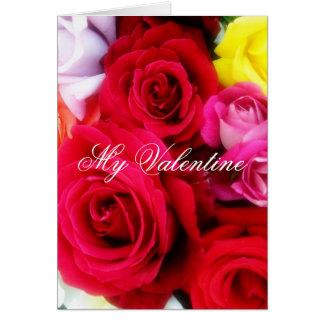 Roses romantiques de jour de Valentines saluant Carte De Vœux