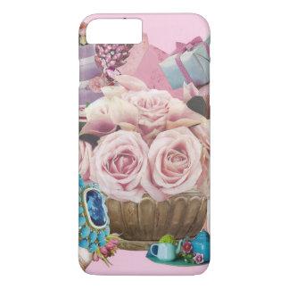 Roses roses de chou avec la turquoise coque iPhone 8 plus/7 plus