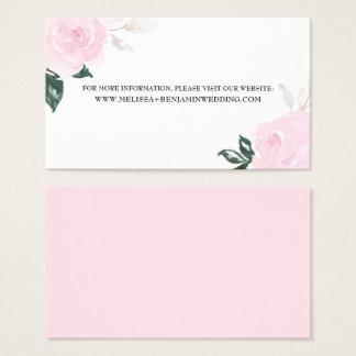 Roses roses doux d'aquarelle épousant cartes de visite