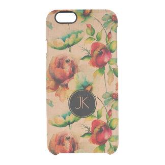 Roses rouges d'aquarelles sur l'arrière - plan en coque iPhone 6/6S