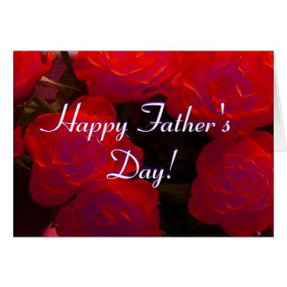 Roses rouges de fête des pères heureuse carte de vœux