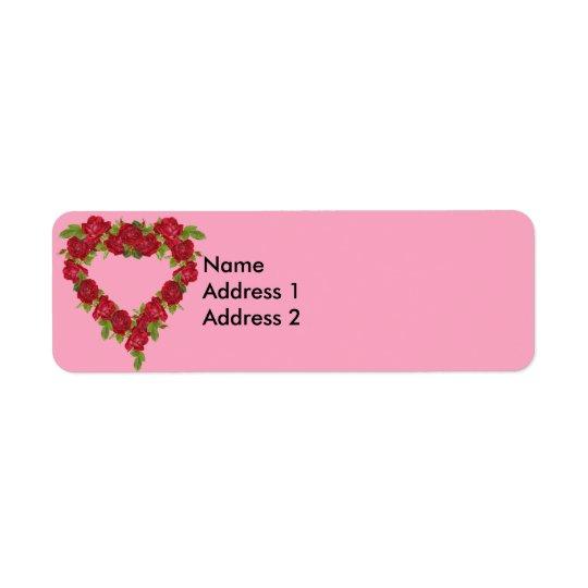 Roses rouges de guirlande de coeur étiquette d'adresse retour