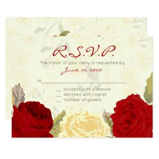 Roses rouges et ens ivoire épousant, cartes de carton d'invitation 8,89 cm x 12,70 cm