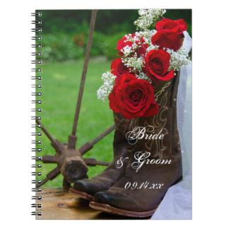 Roses rustiques et mariage campagnard de bottes de carnet à spirale
