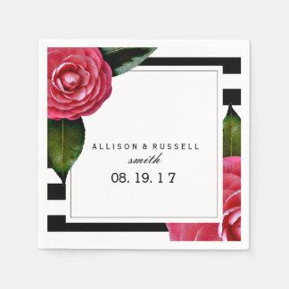 Roses + Serviettes modernes de mariage de rayures Serviette En Papier