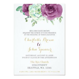 roses succulents de prune d'aquarelle épousant des carton d'invitation  12,7 cm x 17,78 cm