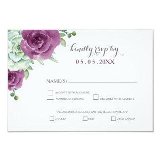 roses succulents de prune d'aquarelle épousant le carton d'invitation 8,89 cm x 12,70 cm