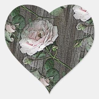 Roses sur le bois patiné sticker cœur