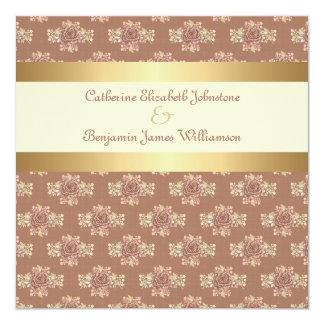 Roses vintages crème et mariage d'or carton d'invitation  13,33 cm