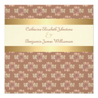 Roses vintages crème et mariage d'or invitations personnalisées