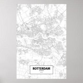 Rotterdam, zwart Nederland (op wit) Poster
