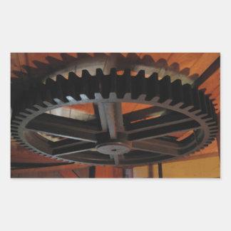 Roue dentée royale de moulin à vent de penny sticker rectangulaire