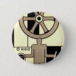 Roue vintage d'affaires d'art déco et travailleur badge rond 5 cm