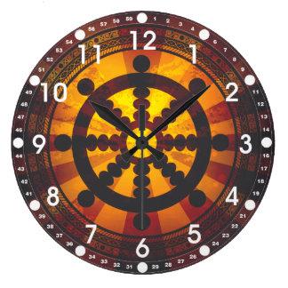 Roue vintage de Dharma Grande Horloge Ronde
