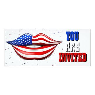 Rouge à lèvres de drapeau des Etats-Unis sur la Carton D'invitation 10,16 Cm X 23,49 Cm