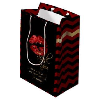 Rouge à lèvres de scintillement et Chevron rouges Sac Cadeau Moyen