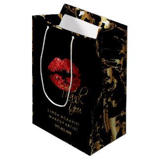 Rouge à lèvres de scintillement et marbre rouges sac cadeau moyen