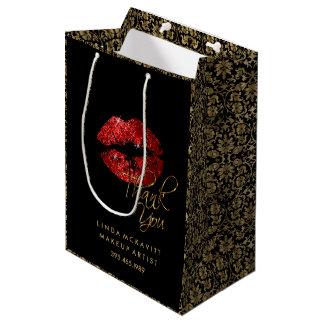 Rouge à lèvres rouge de scintillement et damassé sac cadeau moyen