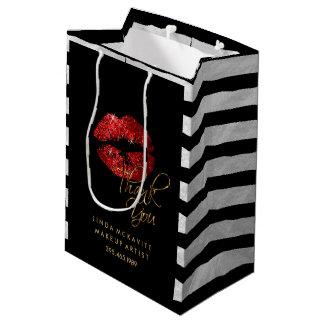 Rouge à lèvres rouge de scintillement et rayures sac cadeau moyen