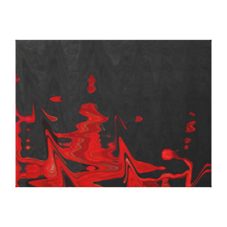 Rouge abstrait de beaux-arts sur la toile noire toiles