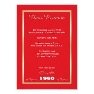 Rouge audacieux de la Réunion de classe de lycée Carton D'invitation 12,7 Cm X 17,78 Cm