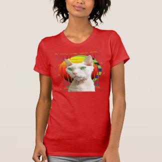 Rouge blanc de Casper de chat du T-shirt |