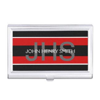 Rouge blanc de noir du monogramme des hommes boîtier pour cartes de visite