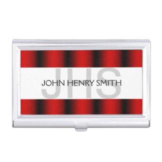 Rouge blanc de noir du monogramme des hommes étuis pour cartes de visite