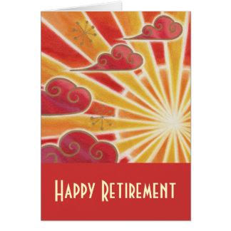 """Rouge de carte """"de retraite heureuse"""" de coucher d"""