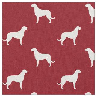 Rouge de motif de silhouettes de chien-loup tissu