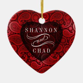 Rouge de Noël   de coeur pur de luxe de Paisley Ornement Cœur En Céramique