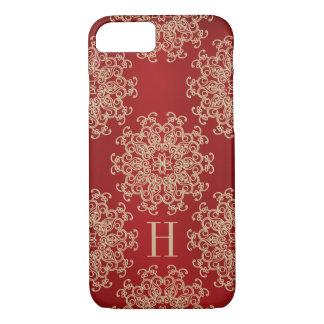 Rouge décoré d'un monogramme et médaillon exotique coque iPhone 8/7