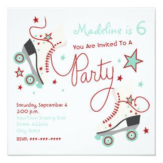 Rouge d'invitation de partie de patin de rouleau + carton d'invitation  13,33 cm
