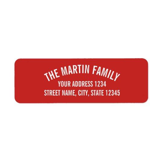 Rouge et caractères gras incurvés par blanc étiquette d'adresse retour