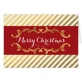 Rouge et carte rayée de cru de vacances de Noël