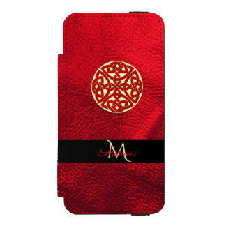 Rouge et monogramme celtique de noeud d'or coque-portefeuille iPhone 5 incipio watson™
