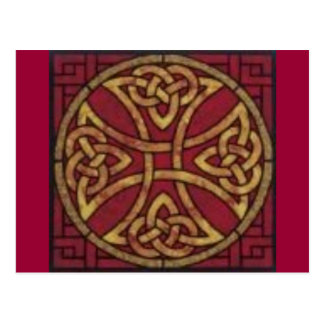 Rouge et noeud de Celtic d'or Carte Postale