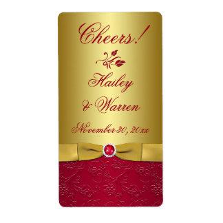 Rouge, étiquette IMPRIMÉ floral de mariage de Étiquettes D'expédition