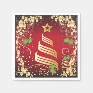 Rouge lumineux de fête et or de Joyeux Noël Serviette Jetable