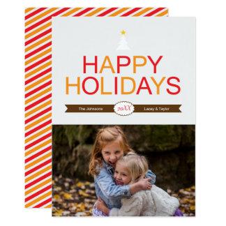 Rouge moderne de vacances, or et photo de Noël de Carton D'invitation 12,7 Cm X 17,78 Cm