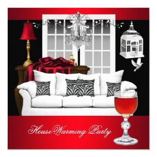 ROUGE noir blanc rouge de lustre de pendaison de Carton D'invitation 13,33 Cm