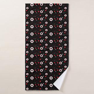 Rouge noir et le blanc bouillonne serviette de