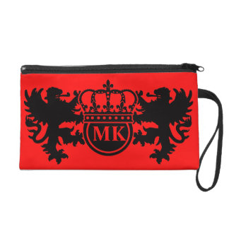 Rouge royal de monogramme de lion pochettes avec dragonne